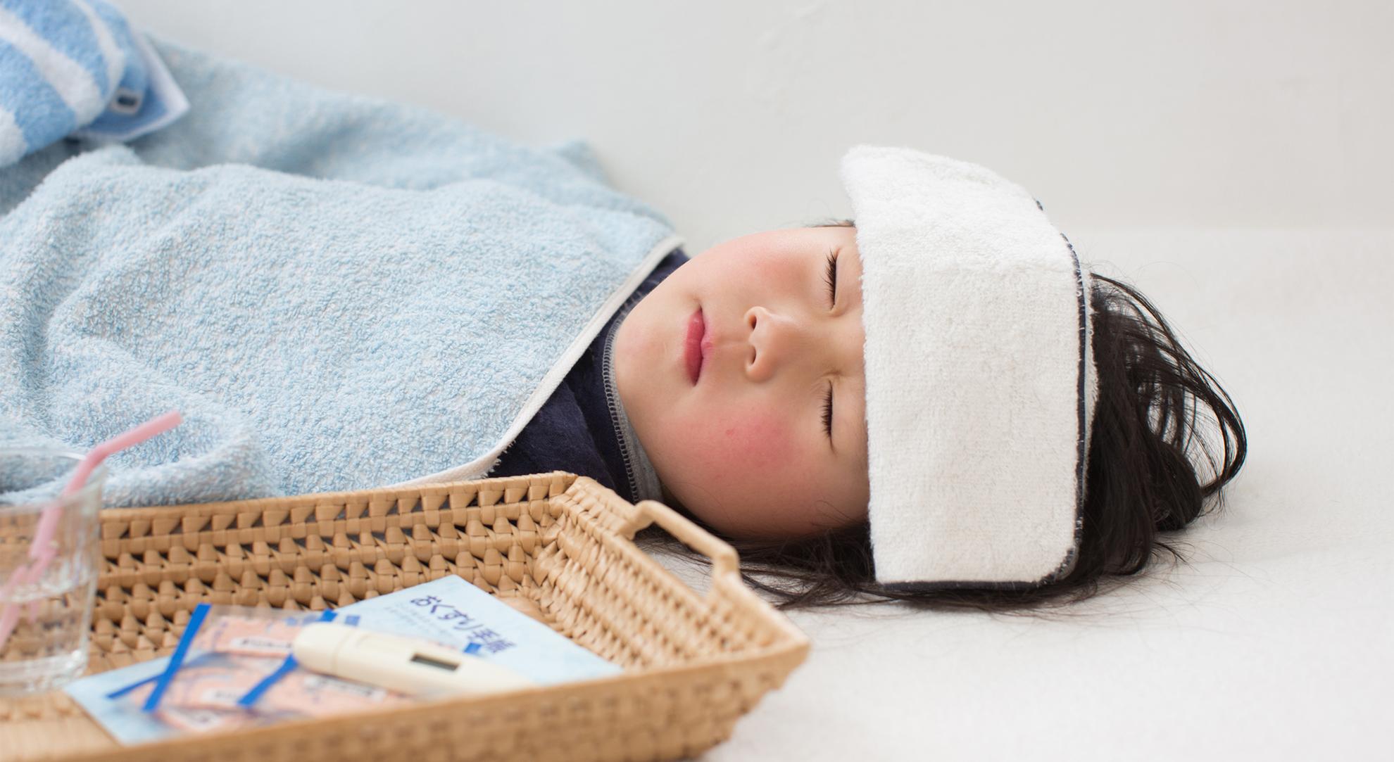 風で寝込む子供